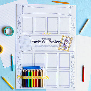 Personalised Party Art Poster - little party extras