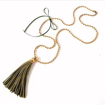 Khaki Tassel Necklace