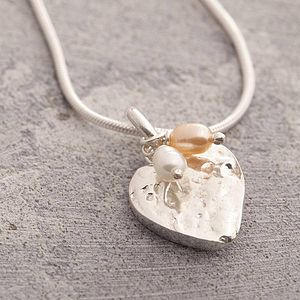 Silver Organic Heart Necklace With Pearls - necklaces & pendants