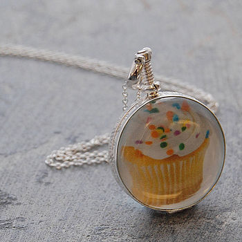 Silver Round Double Sided Locket Necklace