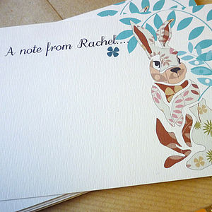 Personalised Bunny Notecards