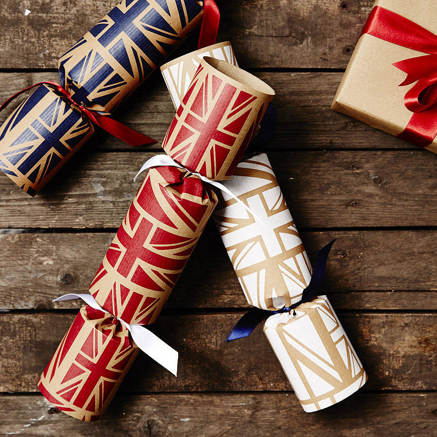 recycled union jack christmas crackers - British Christmas Crackers