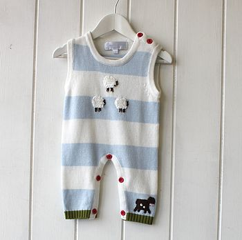 Handknitted Striped Farmyard Sleepsuit
