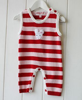 Handknitted Stripy Mouse Sleepsuit