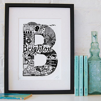 Brighton print with black frame and mount