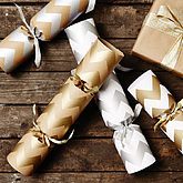 Recycled Metallic Chevron Christmas Crackers - christmas decorations