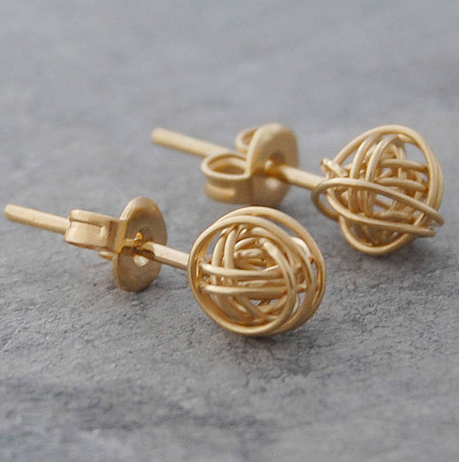 tiny gold nest stud earrings by otis jaxon silver