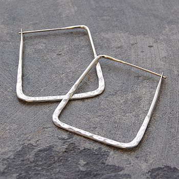 Sterling Silver Square Hoop Earrings