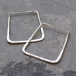 Battered Large Square Sterling Silver Hoops - earrings