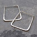 Battered Large Square Sterling Silver Hoops
