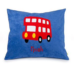 Personalised London Bus Cushion - bedroom