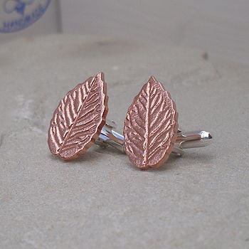 Silver & Copper Autumn Leaves Cufflinks