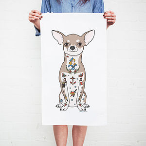 Chihuahua Dog Tattoo Tea Towel