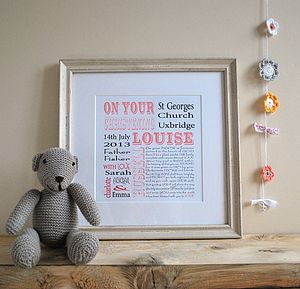 Personalised Christening Print - pictures & prints for children