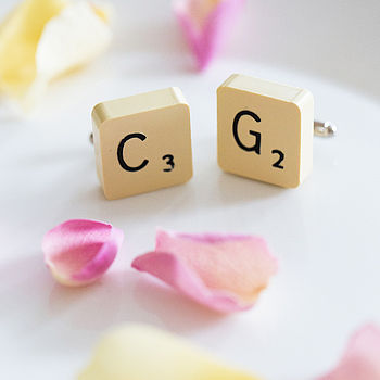 Personalised Vintage Letter Tile Cufflinks