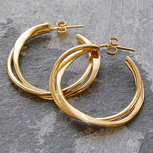 Gold Interwoven Hoop Earrings - earrings