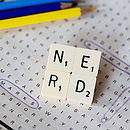 'Nerd' Vintage Scrabble Tile Brooch