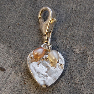 Organic Silver Heart Charm With Pearls - charm jewellery