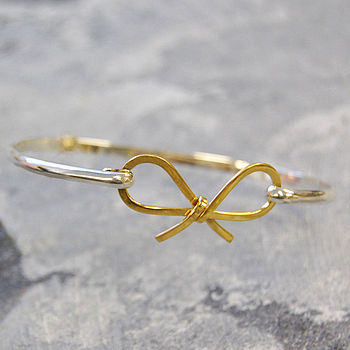 Gold Plated Bow Silver Bangle