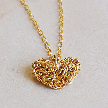 Gold Mesh Heart Necklace