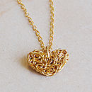 Golden Mesh Heart Pendant