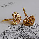 Golden Mesh Heart Hook Earrings