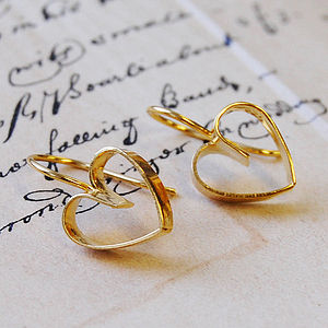 Golden Lace Heart Earrings - women's jewellery