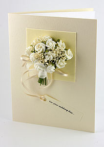 Personalised Rose Bouquet 3D Greetings Card - wedding cards
