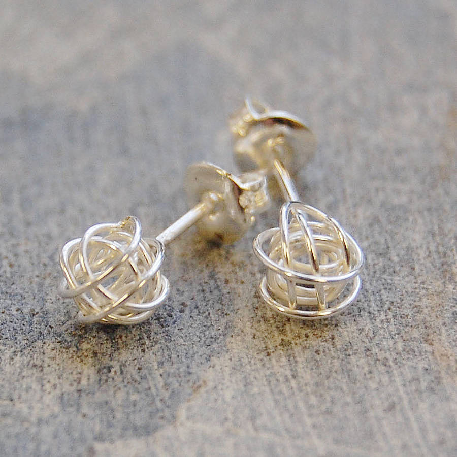 Tiny Sterling Silver Nest Stud Earrings