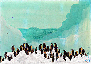 Penguins Standing Artwork - mixed media pictures