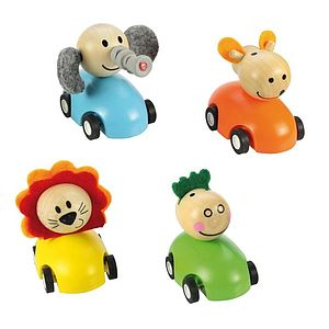 Set Of Four Racing Animals Pull Back Cars