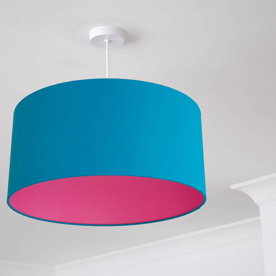 Pick and mix drum lampshade choice of colours by quirk large teal pink aloadofball Choice Image