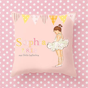 Personalised Ballerina Girls Cushion - cushions