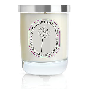 Renewing Rose Geranium And Black Pepper Natural Candle