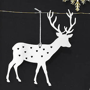 Deer Decoration Hanging Silver Set Of Three