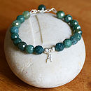 Personalised Moss Agate And Silver Bracelet