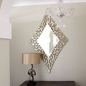 Gold Diamond Shaped Mirror - home accessories