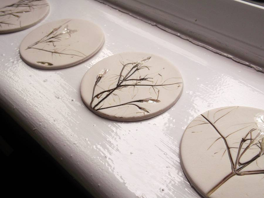 Handmade Coasters With Flowers And Leaves By Melissa Choroszewska Ceramics Notonthehighstreet Com