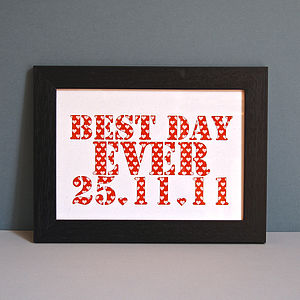 Personalised Best Day Ever Unframed Print