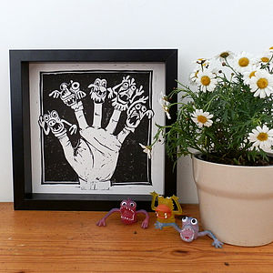 Monster Hand Linocut Print - children's pictures & paintings