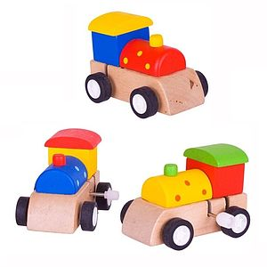 Set Of Three Wooden Train Wind Up Toys - children's parties