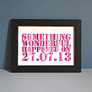 Personalised Something Wonderful Unframed Date Print