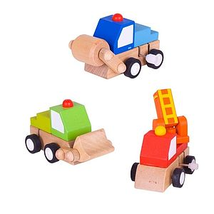 Three Wooden Digger Wind Up Toys And Personalised Bag