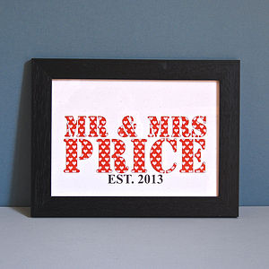 Personalised Mr And Mrs Unframed Print - personalised