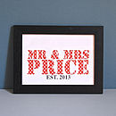Personalised Mr And Mrs Unframed Print