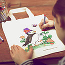Puffin design coloured in