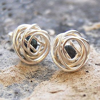 Silver Caged Black Pearl Stud Earrings