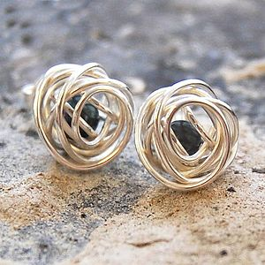 Silver Caged Black Pearl Stud Earrings - earrings