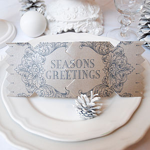 Seasons Black Christmas Cracker Card - table decorations