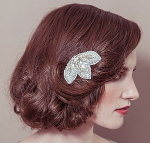 Connie Diamante Beaded Leaf Wedding Hair Comb - wedding jewellery
